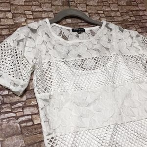 White Layered Floral Fishnet Short Sleeve Top
